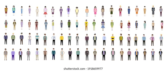 Group of Business people. Set of working man and women. Different nationalities characters isolated on white background. Flat style vector illustration.
