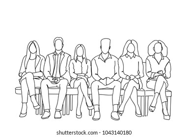Group Of Business People Sitting In Line Waiting For Interview Doodle Human Resources Concept Vector Illustration