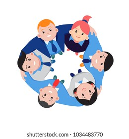 Group of business people standing arm in arm forming a circle looking up at the viewer in a concept of business strength, teamwork and solidarity, vector illustration on white