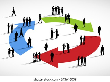 Group of business people standing on arrows.