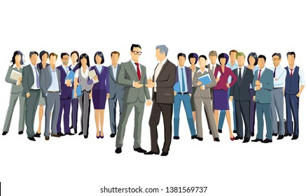 a group of business people are standing together