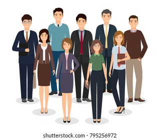 Group of business people standing together on white background. Office employee in different poses and casual clothes. Men and women working staff. Vector illustration in flat design.