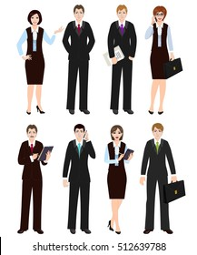 Group of business people in suits. Office workers in formal clothes.  Set of business people in office clothes. Businessman and businesswoman.