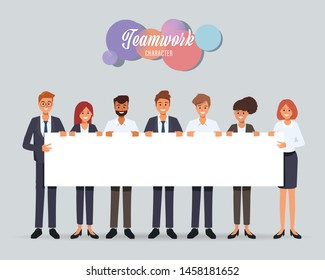 Group of business people teamwork holding big banner blank space character.