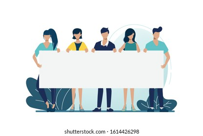 Group of business people teamwork holding big banner blank space character. Promoting for business campaign.