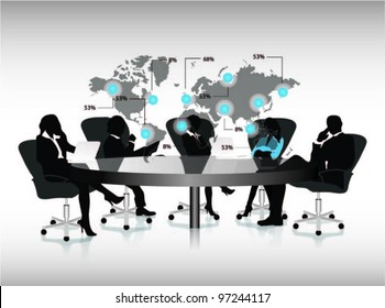 group of business people working in office with world map.vector label.