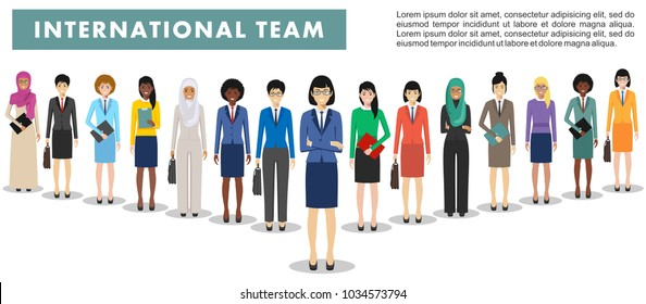 Group of business women standing together on white background in flat style. Business team and teamwork concept. Different nationalities and dress styles. Flat design people characters.