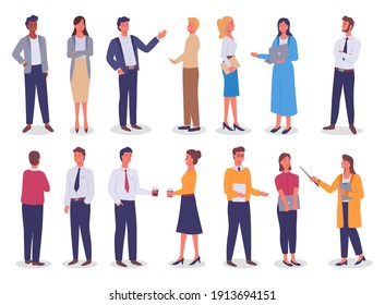 Group of business working people standing on white background. Business man and business woman in flat design people characters. People in different positions of the body and objects in their hands