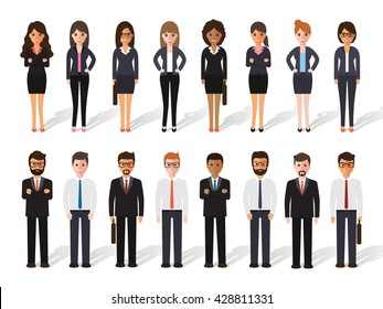 Group of business working people standing on white background. business man and business woman in flat design people characters.