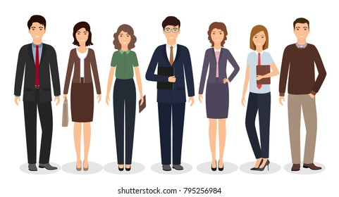 Group of business working people standing together on white background. Office employee in different poses and casual clothes. Vector illustration.