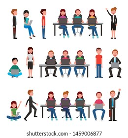 group of business young people vector illustration design