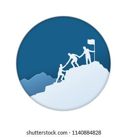 Group of businessman helping each other hike up a mountain, sky background. Business, teamwork, goal, success and help concept. Paper cut, vector illustration.