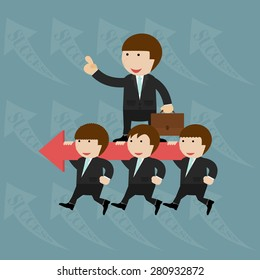 Group of businessman running in the same direction
