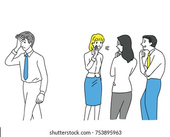Group of businessman and woman, office workers, bullying an unhappy man at workplace. Outline, linear, thin line art, doodle, hand drawn sketch design.