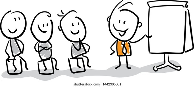Group of businessmans talking about work strategy. Doodle style vector illustration object isolated hand draw. Line art cartoon design character