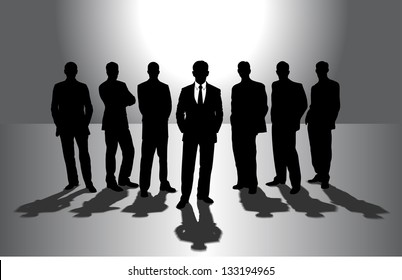 group of businessmen against the sun