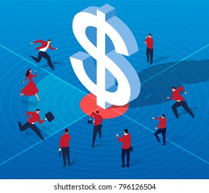 A group of businessmen attracted by money