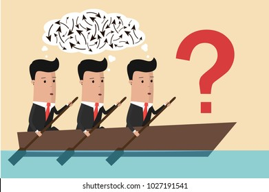 A group of businessmen are confused because of the lack of a leader. Business concept. Vector illustration