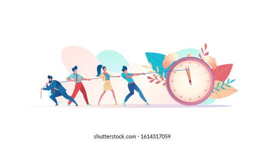 group of businessmen resist deadline. People pull clock hands on rope. metaphor of time management in team. concept of multitasking, performance, timeline. Vector flat illustration
