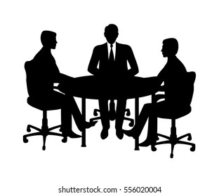 A group of businessmen sitting at a table.Contour.