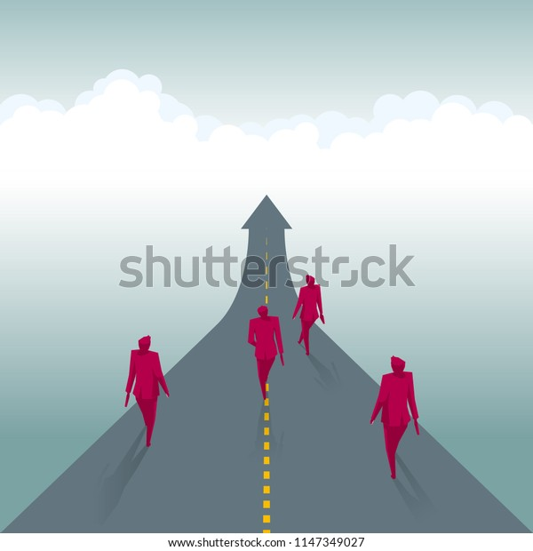 A group of businessmen are walking on the road, the road is in the shape of an arrow.