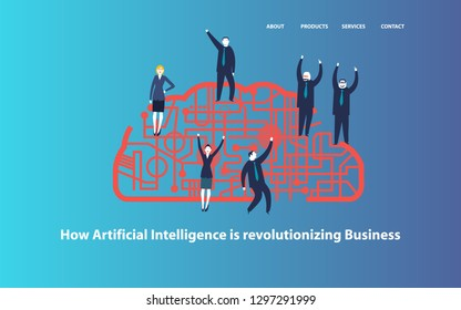 Group of businesspeople celebration on a cyber brain concept.- vector