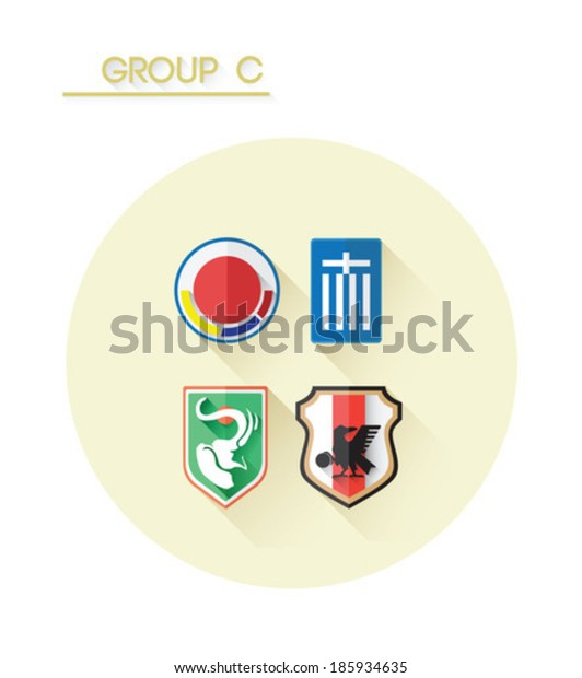 Group c with country crests on white background