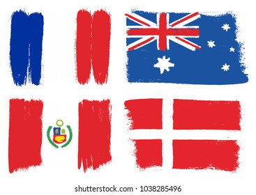 Group C Flags Vector Hand Painted with Rounded Brush