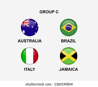 group C of nation flag in badge icon. Concept for team that qualified to final round of women soccer or sport tournament. Vector illustrative