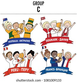 Group C. Vector isolated on white background. Set of supporters of Australia, Denmark, Peru and France team of football.
