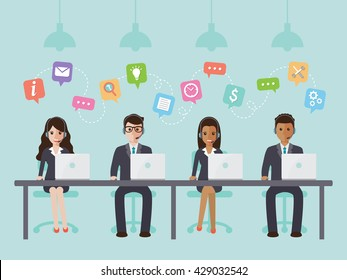 Group of call center and customer service people in office. Flat design people characters.