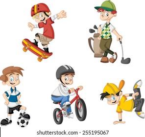 Group of cartoon boys playing various sports