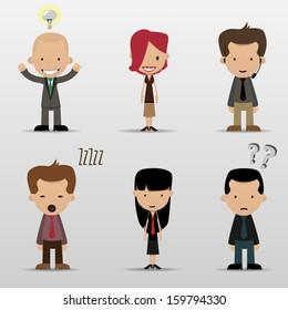 Group cartoon business people set