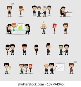 Group cartoon business people set