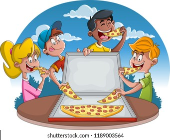 Group of cartoon children eating pepperoni pizza.