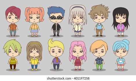 Group of cartoon children. Manga anime teenagers.