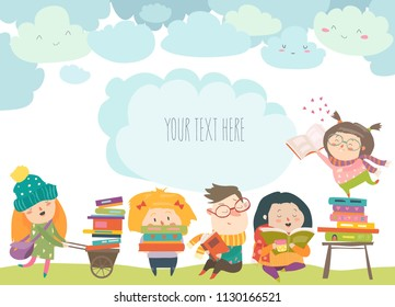 Group of cartoon children reading books