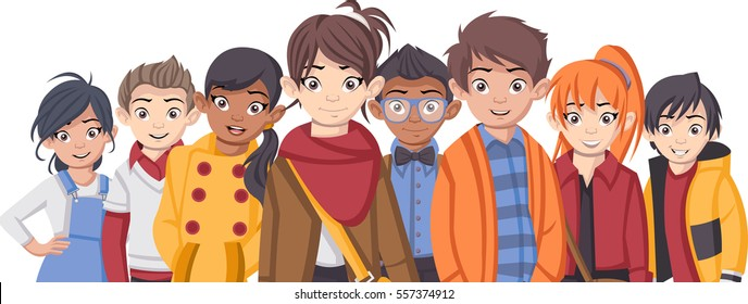 Group of cartoon fashion children. Teenager.