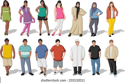 Group of cartoon fat young people