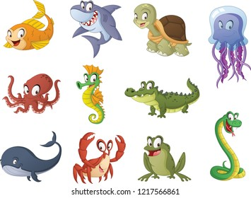 Group of cartoon fish, reptiles and amphibians. Vector illustration of funny happy aquatic animals.