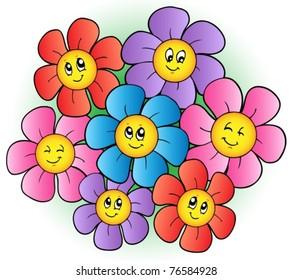 Group of cartoon flowers - vector illustration.