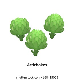 Group of cartoon green artichokes isolated on white background.