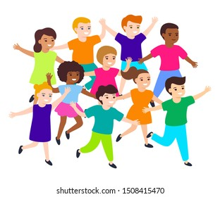 Group of cartoon happy multicultural children girl and boy joyfully run. Cute diverse kids. Vector illustration