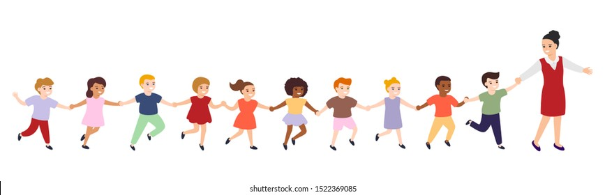 Group of cartoon happy multicultural children and teacher. Girls and boys follow woman leader, hold hands. Cute diverse kids. Vector illustration