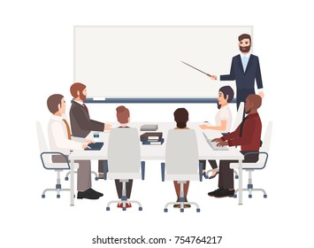 Group of cartoon people dressed in smart clothing sit around table and listen to man with pointer making presentation at board. Corporate business training, whiteboard meeting. Vector illustration.