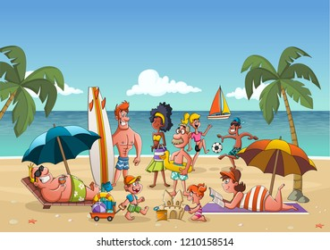 Group of cartoon people on beautiful beach.