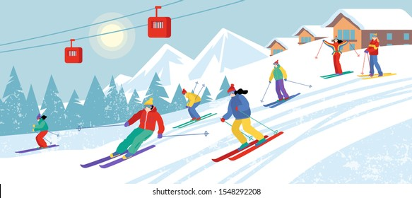 Group of cartoon people skiing downhill. Skiers in mountains. Sunny winter landscape. Flat vector illustration. Cute characters.