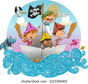 Group of cartoon pirate kids sailing on paper boat.