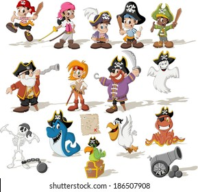 Group of cartoon pirates with funny animals.