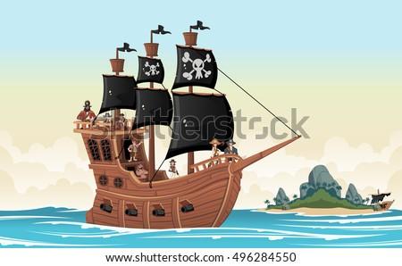 Group of cartoon pirates